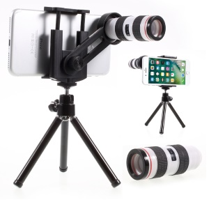 12X Optical Telescope Universal Camera Lens with Tripod, Phone Clamp Range: 55 - 85mm