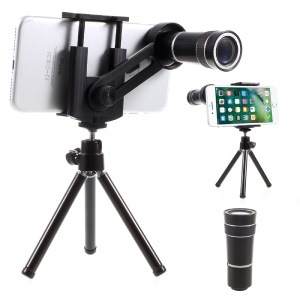 Universal 10X Mobile Phone Telescope Camera Lens with Tripod, Phone Clamp Range: 55 - 85mm