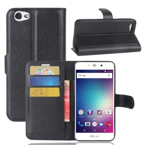 For BLU Grand M Litchi Skin PU Leather Folio Wallet Case Cover - Black