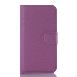 Litchi Skin Leather Wallet Cover for Vodafone Smart speed 6 - Purple