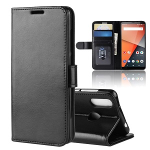 Crazy Horse Wallet Leather Stand Case for Vodafone Smart X9 - Black