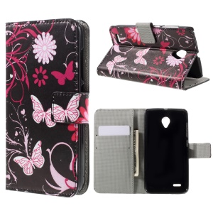 Wallet Leather Stand Case for Vodafone Smart prime 6 VF-895N - Butterfly Flowers