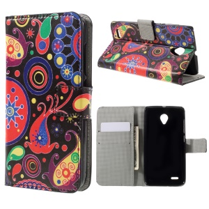 Wallet Leather Stand Cover for Vodafone Smart prime 6 VF-895N - Paisley Flowers
