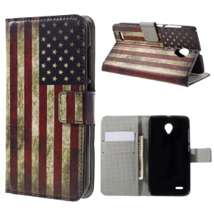 Wallet Leather Phone Case for Vodafone Smart prime 6 VF-895N - Retro American Flag