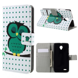 Leather Stand Case with Card Slots for Vodafone Smart prime 6 VF-895N - Sleeping Owl on the Branch