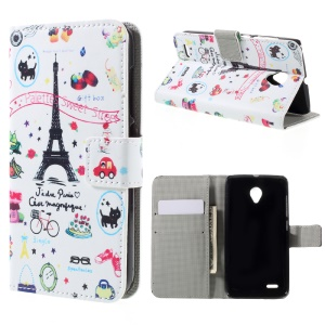 PU Leather Card Holder Case for Vodafone Smart prime 6 VF-895N - Eiffel Tower and Fruits