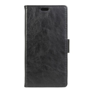 Crazy Horse Genuine Leather Flip Phone Cover for Vodafone Smart 6 mini - Black