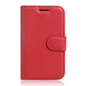 Lychee Skin Leather Wallet Case Cover for Vodafone Smart first 7 - Red