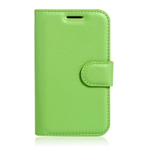 Lychee Skin Leather Card Holder Case for Vodafone Smart first 7 - Green