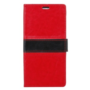 Contrast Color Crazy Horse Leather Flip Case Cover for Vodafone Smart prime 7 - Red