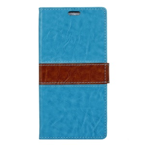 Contrast Color Leather Cover Stand Card Holder for Vodafone Smart prime 7 - Blue