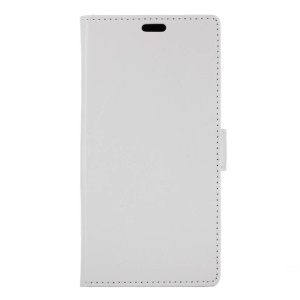 Crazy Horse Leather Wallet Cover for Vodafone Smart prime 7 - White