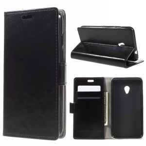 Crazy Horse Texture Leather Wallet Stand Case for Vodafone Turbo 7/VDF500 - Black