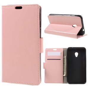 Crazy Horse Texture Leather Wallet Flip Case for Vodafone Turbo 7/VDF500 - Pink