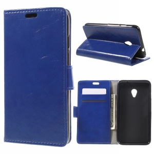Crazy Horse Texture Leather Wallet Flip Cover for Vodafone Turbo 7/VDF500 - Blue