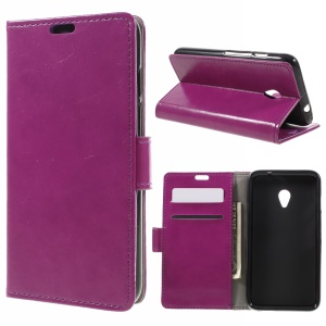 Crazy Horse Texture Leather Wallet Phone Case for Vodafone Turbo 7/VDF500 - Purple