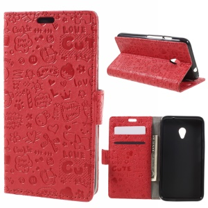 Cartoon Graffiti Wallet Leather Phone Stand Shell for Vodafone Turbo 7/VDF500 - Red