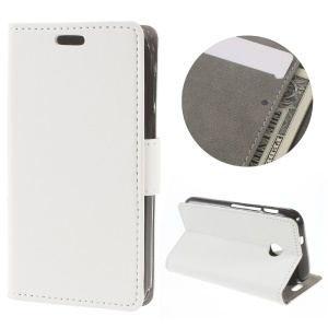 Flip Leather Wallet Stand Cover for Vodafone Smart mini 7 - White