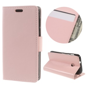 Crazy Horse Leather Card Holder Case for Vodafone Smart mini 7 - Pink