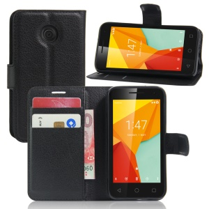Litchi Skin Leather Wallet Case for Vodafone Smart mini 7 - Black