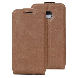 Crazy Horse Vertical Leather Cover with ID Slot for Vodafone Smart mini 7 - Brown