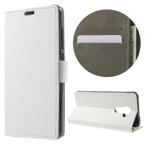 Faux Leather Wallet Case Stand Cover for Vodafone Smart platinum 7 - White