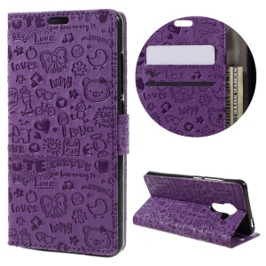 Cartoon Graffiti Protective Leather Case with Stand for Vodafone Smart platinum 7 - Purple