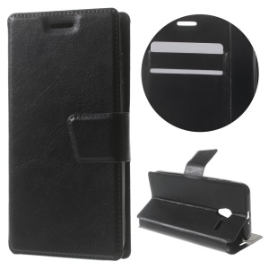 For Vodafone Smart speed 6 Crazy Horse Stand Leather Case - Black