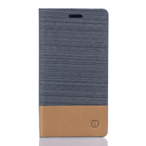 Two-color Linen Texture Leather Stand Case for Vodafone Smart mini 6 - Dark Grey