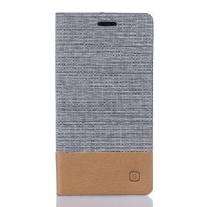 Two-color Linen Texture Leather Stand Cover for Vodafone Smart mini 6 - Light Grey