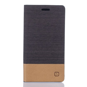 Two-color Linen Texture Leather Card Holder Case for Vodafone Smart mini 6 - Coffee