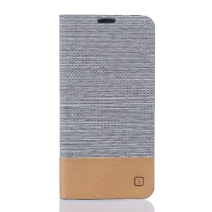 Canvas Card Holder Leather Stand Cover for Vodafone Smart prime 7 - Light Grey