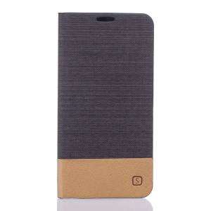 Canvas Card Holder Leather Flip Protector Case for Vodafone Smart prime 7 - Coffee