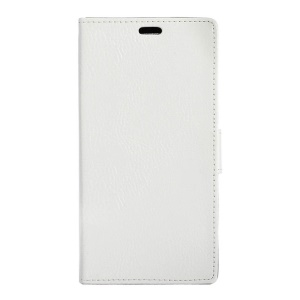 Litchi Grain Leather Wallet Stand Case for Vodafone Smart platinum 7 - White
