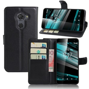 Litchi Skin Leather Wallet Case for Vodafone Smart platinum 7 - Black
