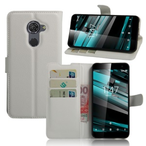 Litchi Skin Leather Wallet Cover for Vodafone Smart platinum 7 - White