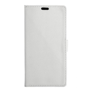 Lychee Skin Wallet Leather Stand Cover for Vodafone Smart platinum 7 - White