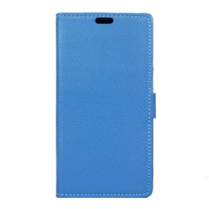 Lychee Skin Magnetic Leather Stand Cover for Vodafone Smart platinum 7 - Blue