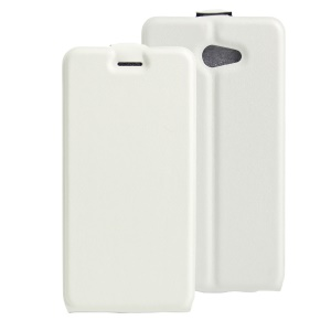 Vertical Flip Leather ID/Photo Slot Cover for Vodafone Smart ultra 7 - White