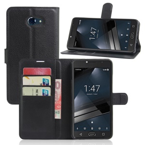 Litchi Texture Wallet Leather Case for Vodafone Smart ultra 7 - Black