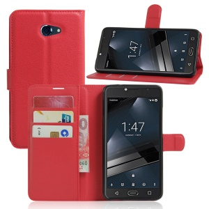 Litchi Texture Leather Stand Case for Vodafone Smart ultra 7 - Red