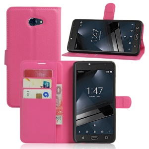 Litchi Skin Flip Leather Cover for Vodafone Smart ultra 7 - Rose