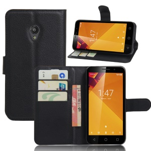 Litchi Skin Wallet Leather Stand Case for Vodafone Smart 7 turbo - Black