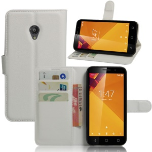 Litchi Skin Wallet Leather Stand Cover for Vodafone Smart 7 turbo - White