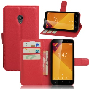 Litchi Skin Wallet Leather Magnetic Case for Vodafone Smart 7 turbo - Red