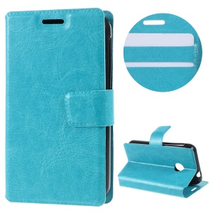 Crazy Horse Card Holder Leather Case for Vodafone Smart first 7 - Blue