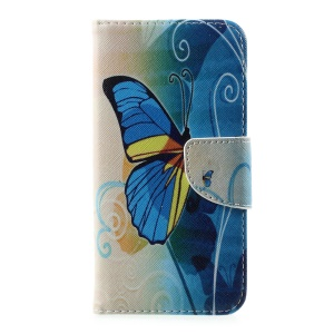 Pattern Printing Magnetic Leather Wallet Case for Vodafone Smart prime 7 - Blue Butterfly