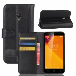 Folio Split Leather Wallet Stand Phone Case for Vodafone Smart turbo 7 - Black