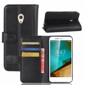 Folio Split Leather Wallet Stand Phone Cover for Vodafone Smart prime 7 - Black
