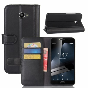 Folio Split Leather Wallet Stand Phone Case for Vodafone Smart ultra 7 - Black